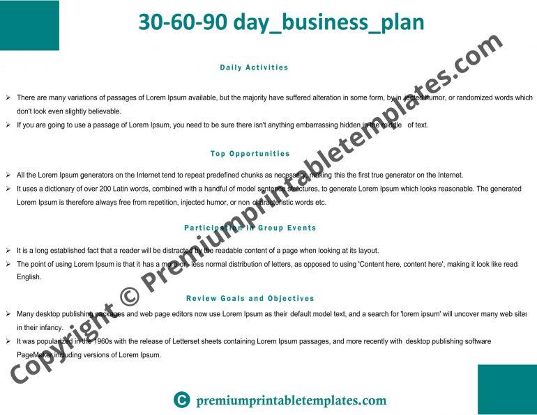 30-60-90 day sales plan