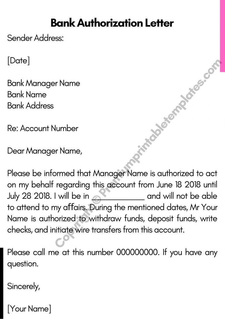 Bank Authorization Letter PDF