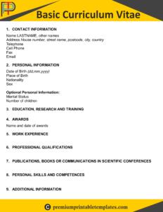 Basic Curriculum Vitae