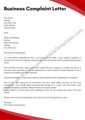 Business Complaint Letter PDF