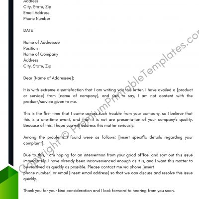 Business Complaint Letter Template
