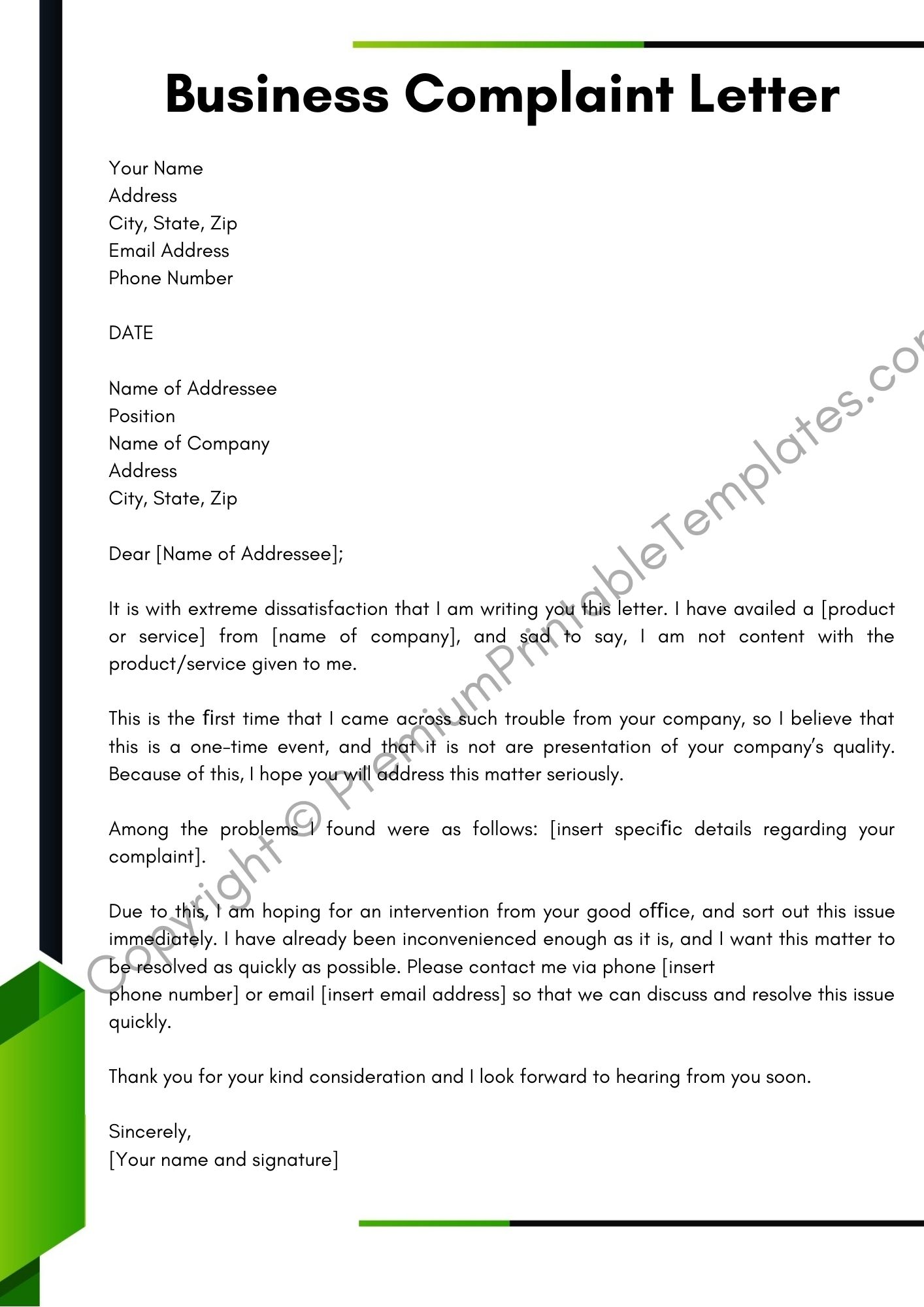 Complaint Letter Example To Company from premiumprintabletemplates.com