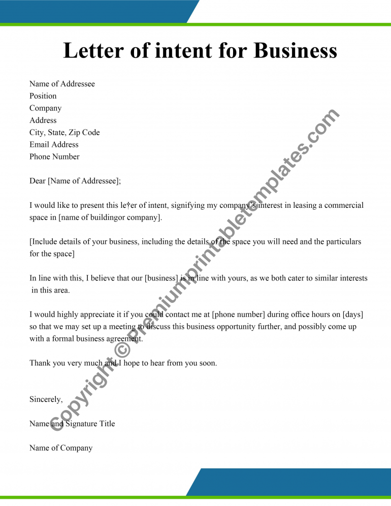Business Letter of intent