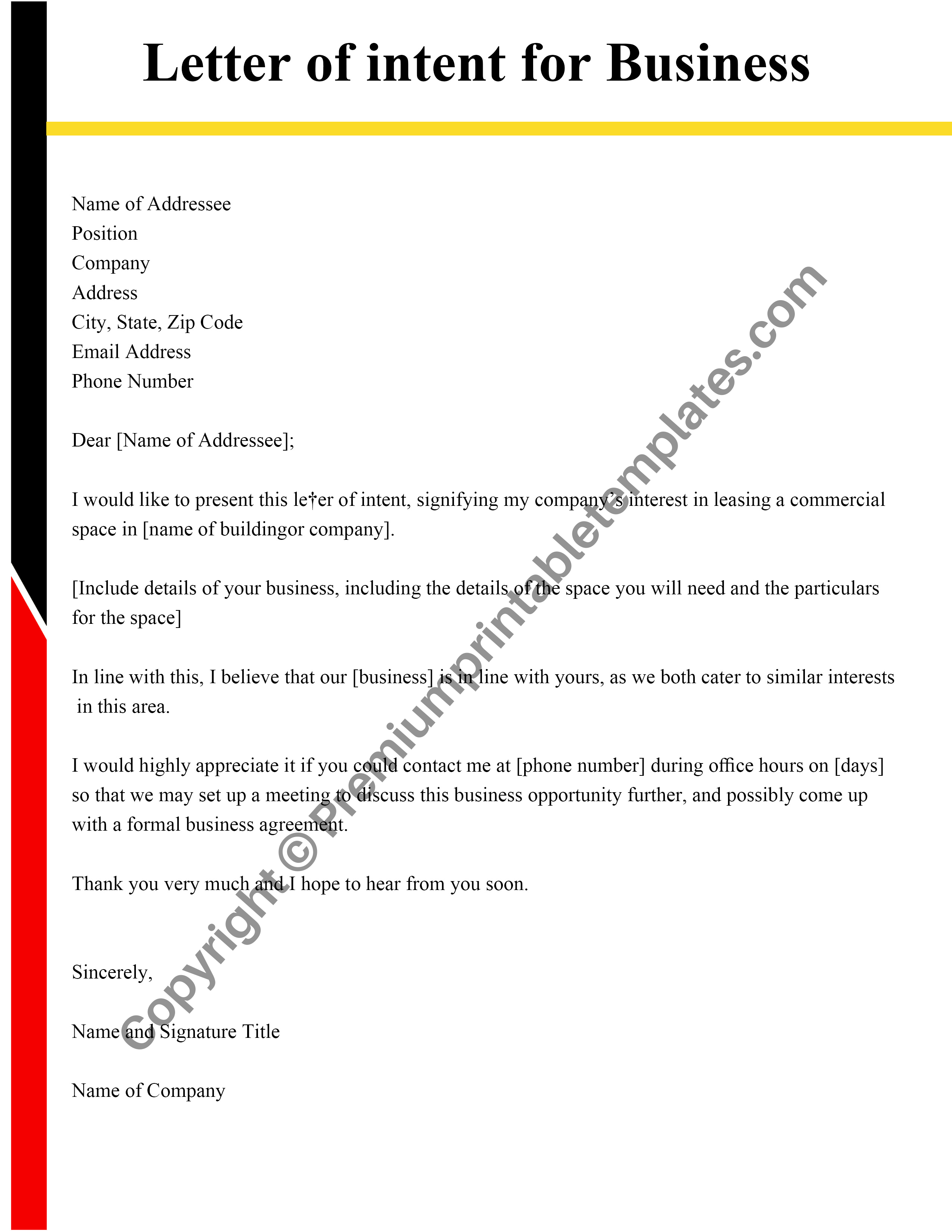 Letter Of Intent Template from premiumprintabletemplates.com