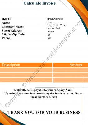 Calculate Invoice Template