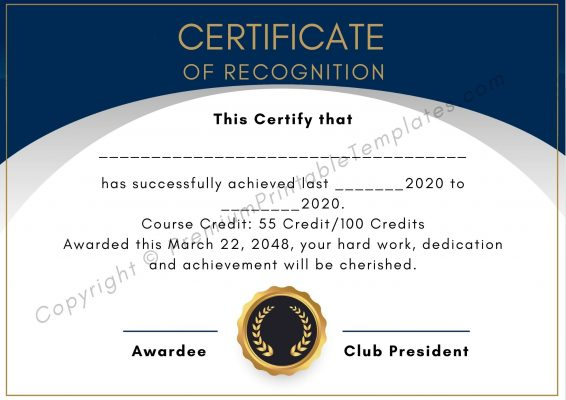 Certificate of Recognition PDF
