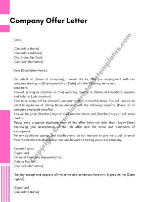 Company Offer Letter Template