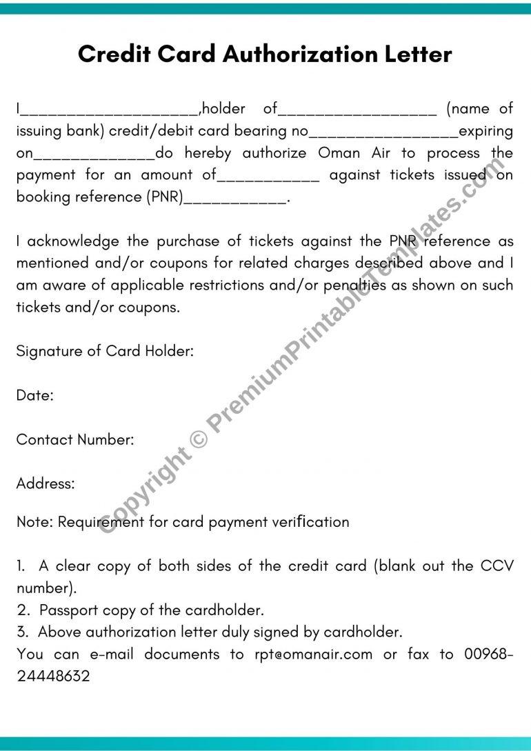 Credit Card Authorization Letter PDF
