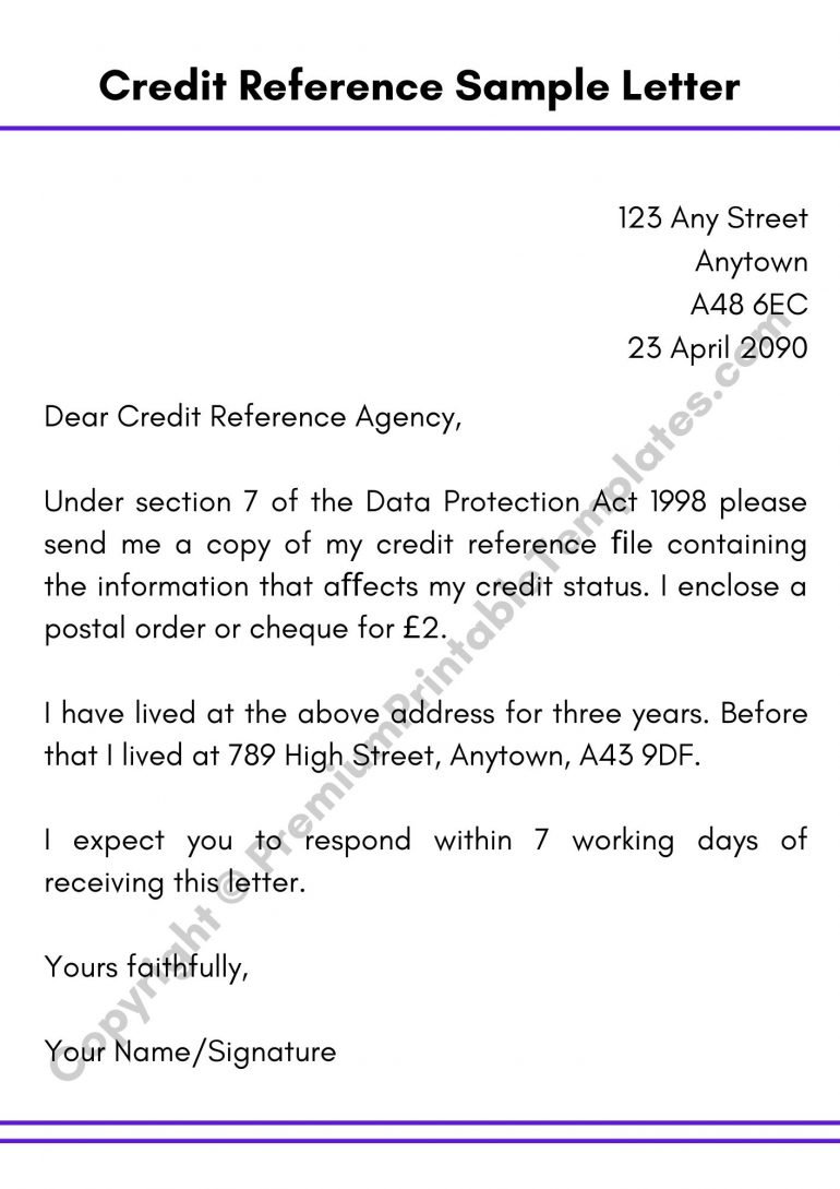 Credit Reference Letter