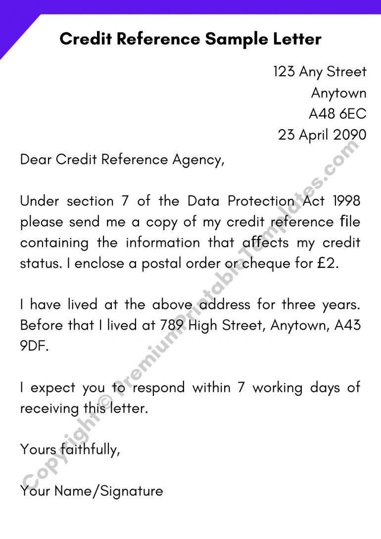 Credit Reference Sample Letter