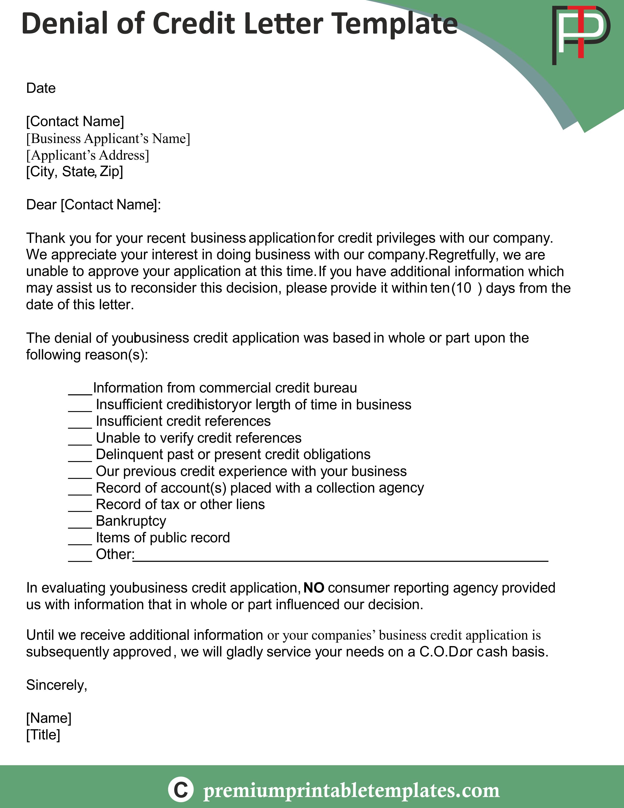 sample business credit denial letter 8 credit rejection letter free