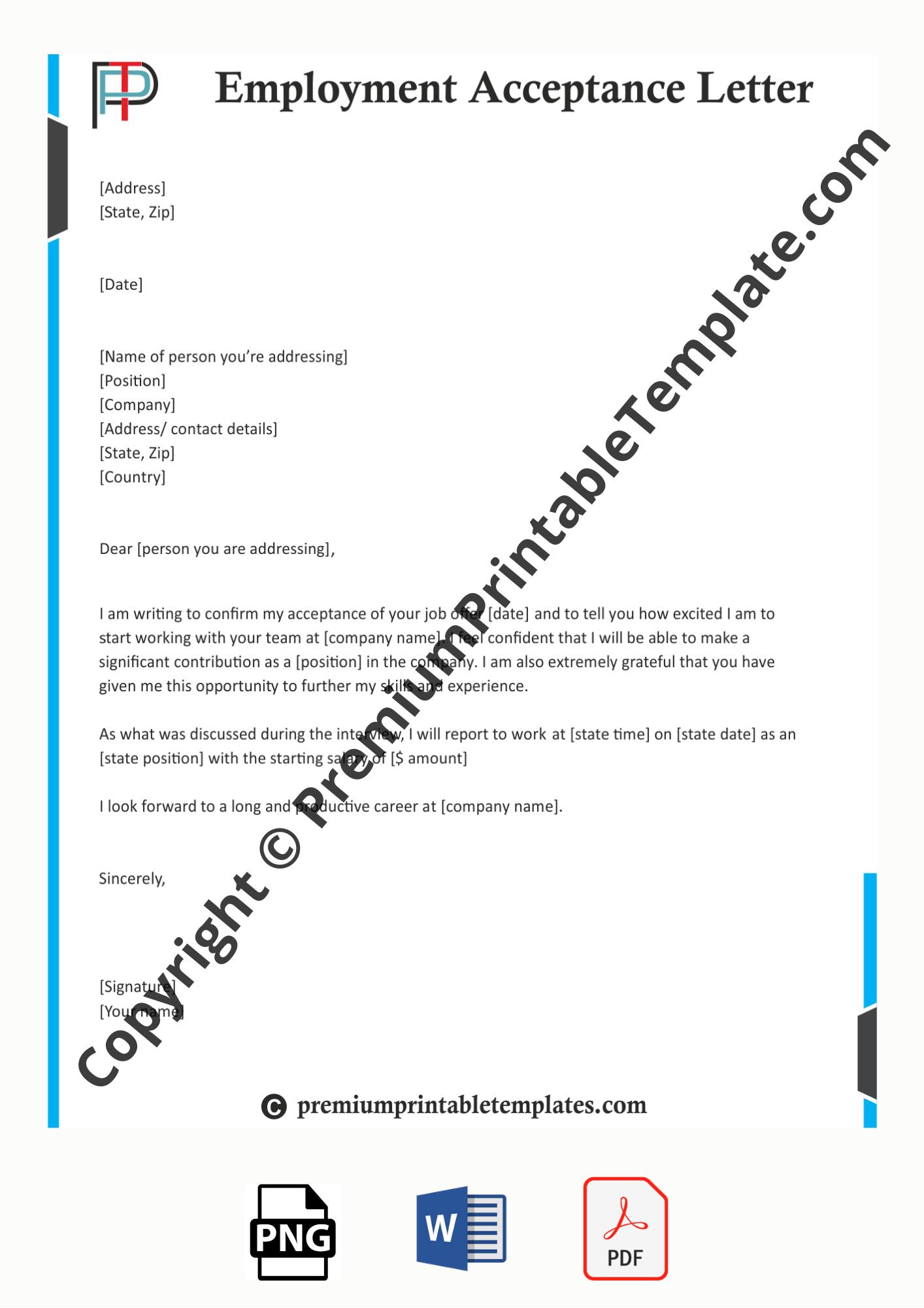 Employment Acceptance Letter