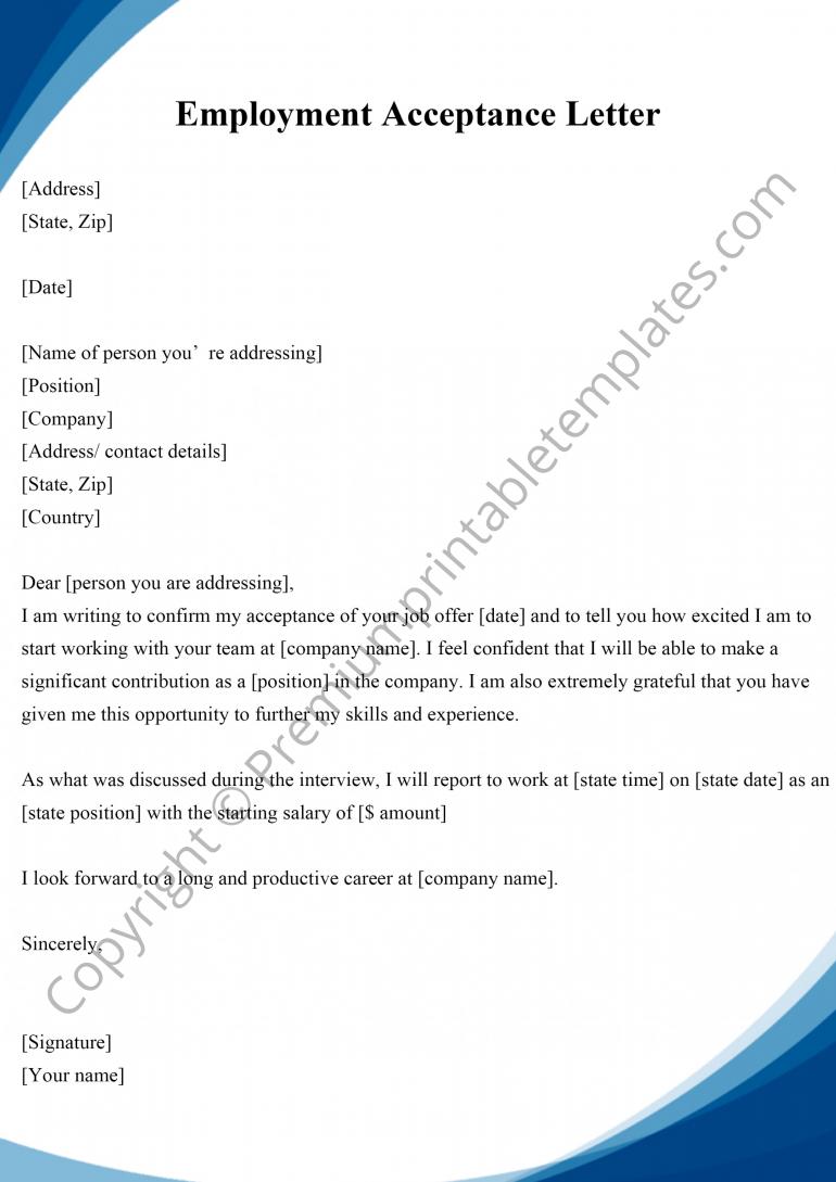 Employment Acceptance Letter PDF