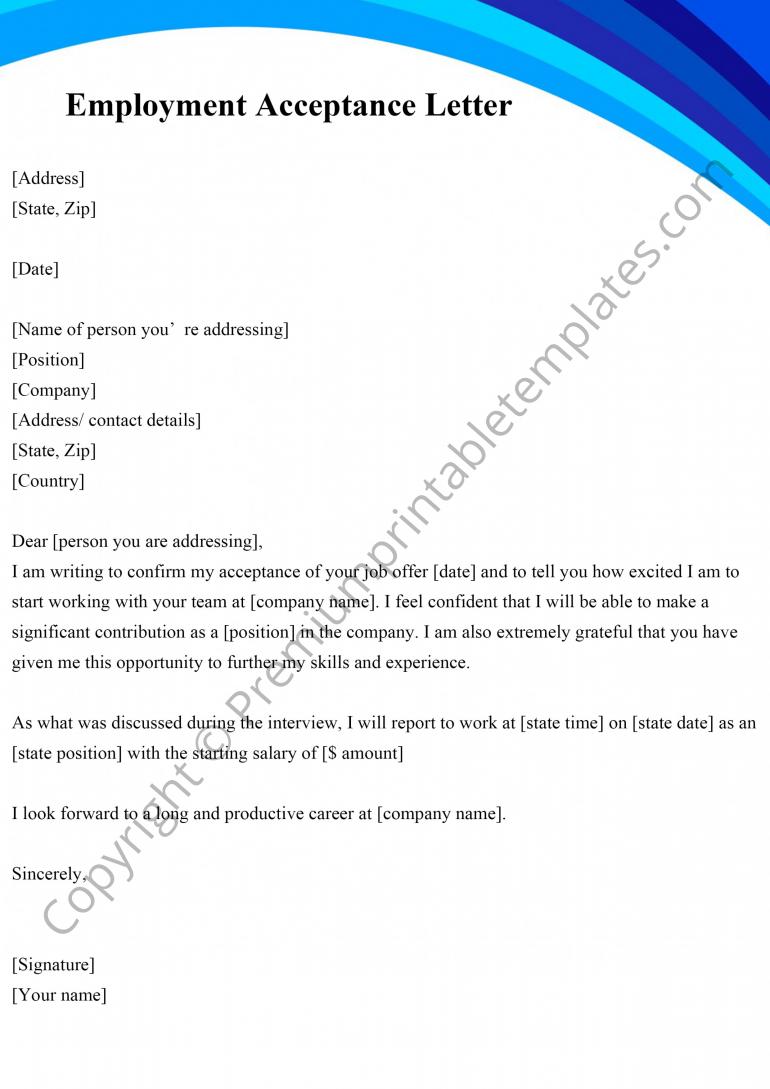 Employment Acceptance Letter Template