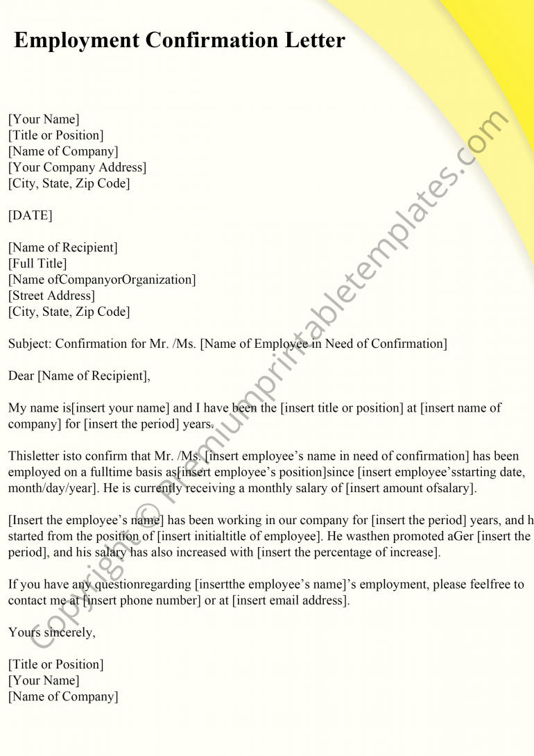 Employment Confirmation Letter