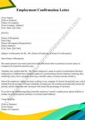 Employment Confirmation Letter PDF