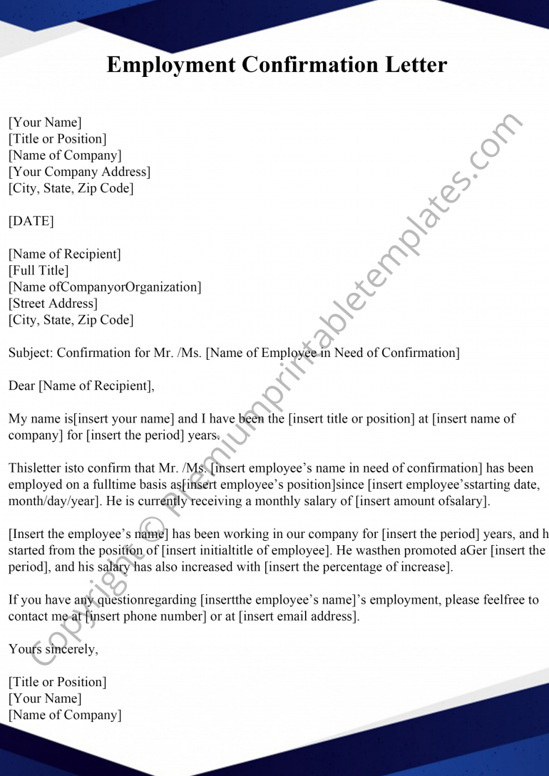 Employment Confirmation Template