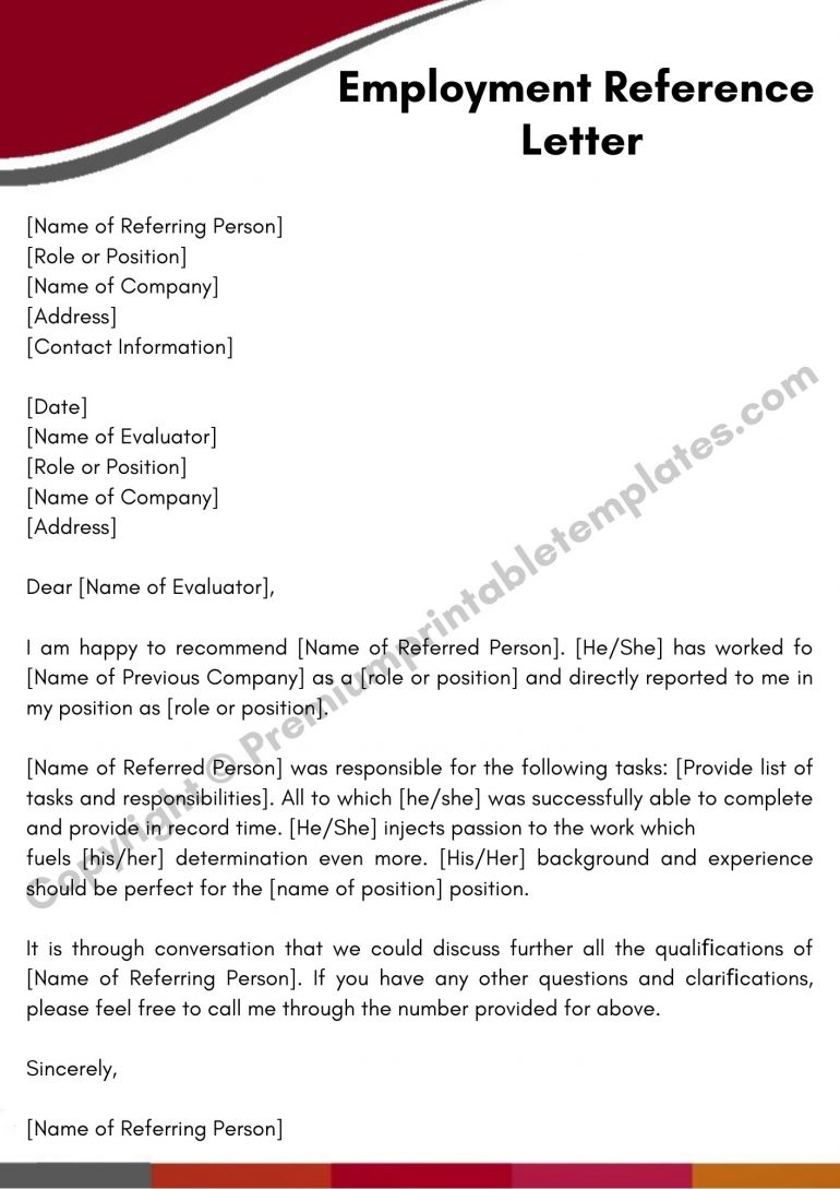 Employment Reference Letter PDF
