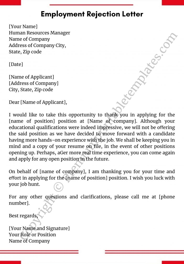 Employment Rejection Letter PDF