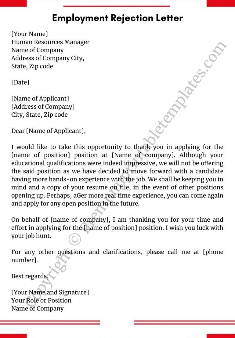 Employment Rejection Letter PDF