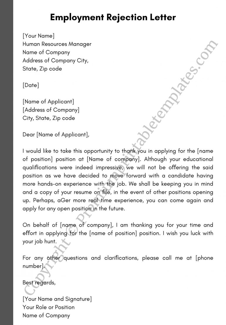 Employment Rejection Letter Template