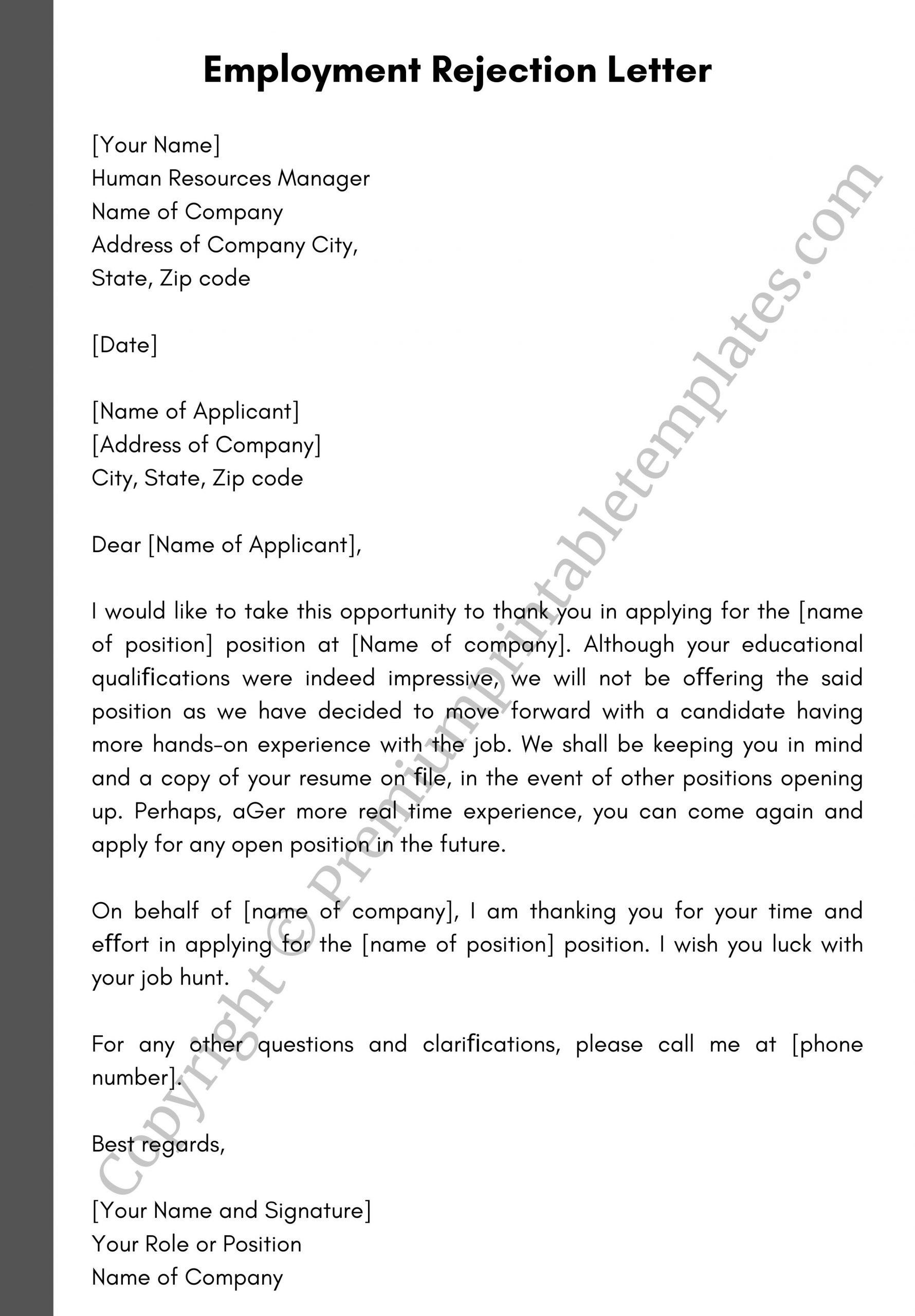Employment Rejection Letter Editable Pdf Pack Of 5 Premium Printable Templates