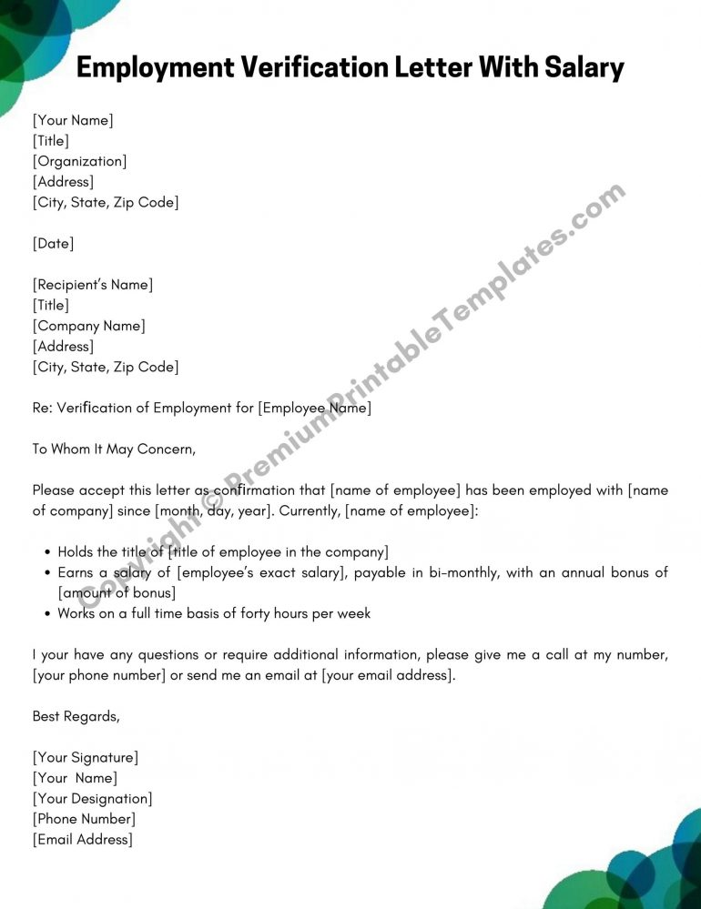 Employment Verification Letter With Salary PDF