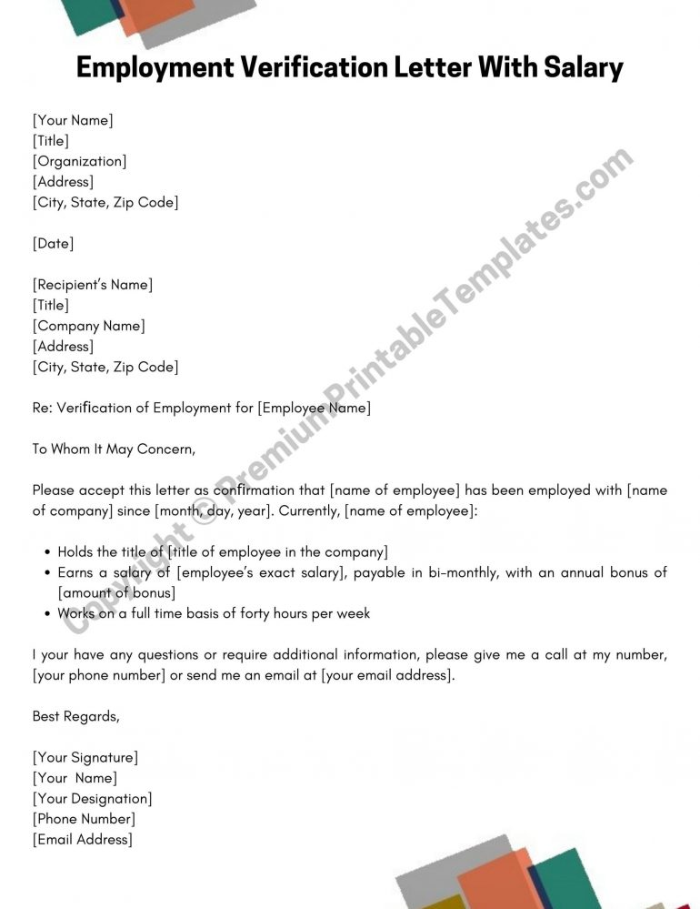 Employment Verification Letter With Salary Template