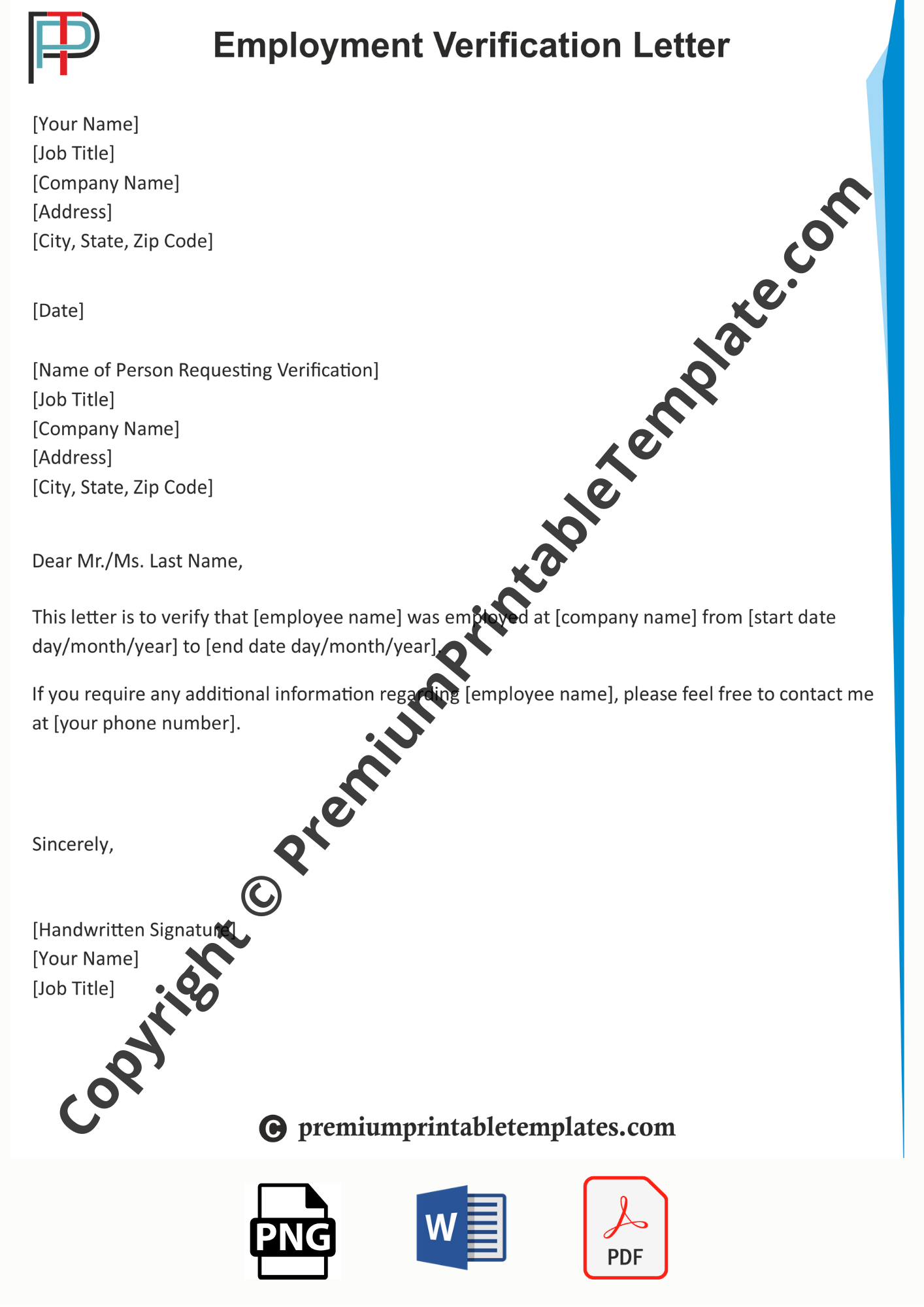 Letter Of Employment Verification Template from premiumprintabletemplates.com