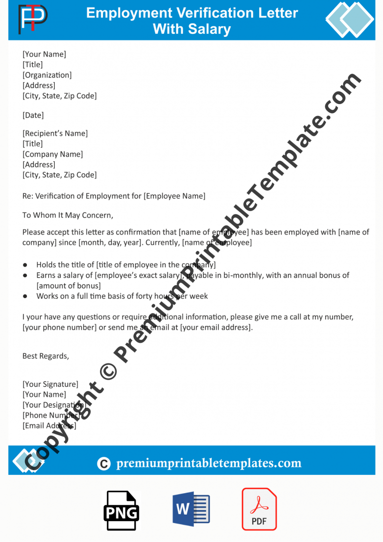 Employment Verification Letter with salary