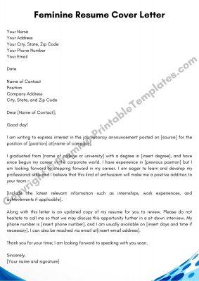 Feminine Resume Cover Letter