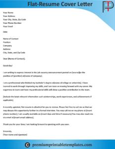 Flat-Resume Cover Letter