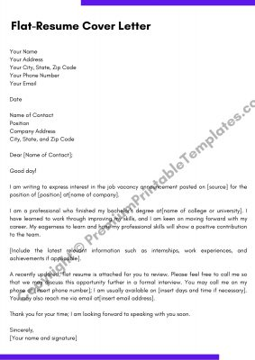 Flat resume cover letter Template