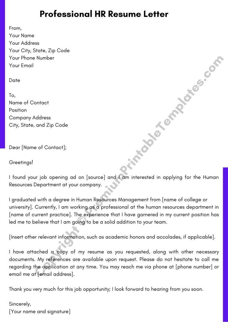 HR Resume Letter