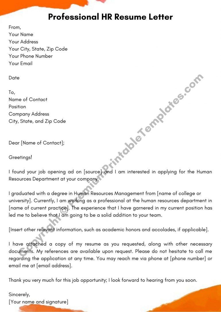 HR Resume Letter Template