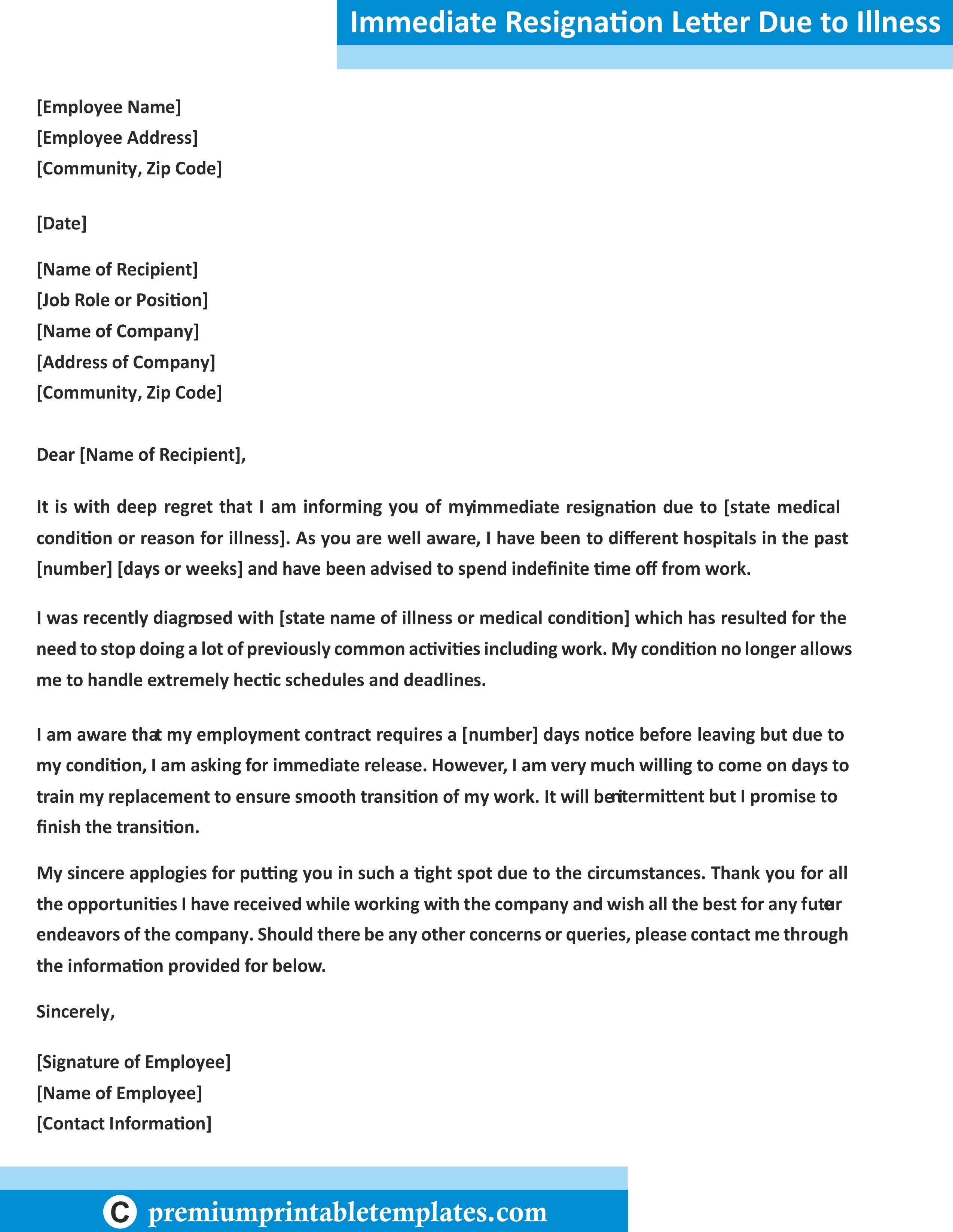 Immediate resignation letter due to illness premium printable immediate resignation letter due to illness 100 spiritdancerdesigns Choice Image