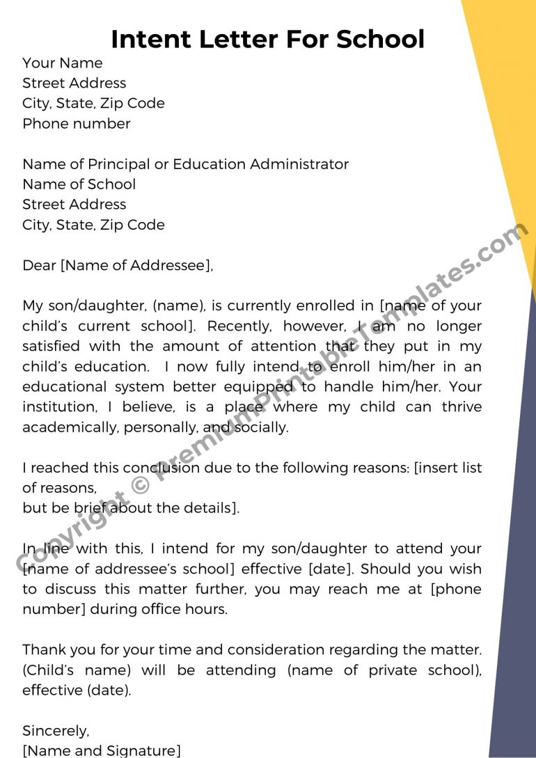 Intent Letter For School