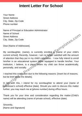 Intent Letter For School PDF