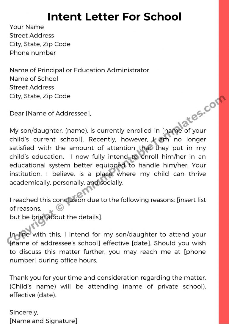 Intent Letter For School Template