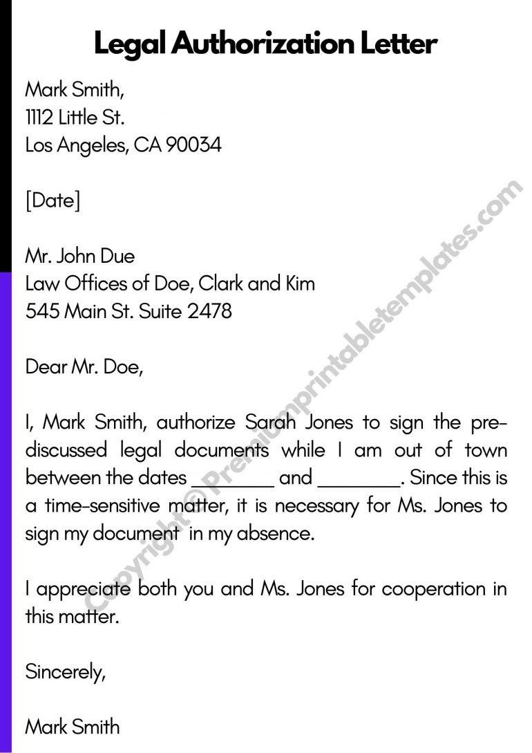 Legal Authorization Letter