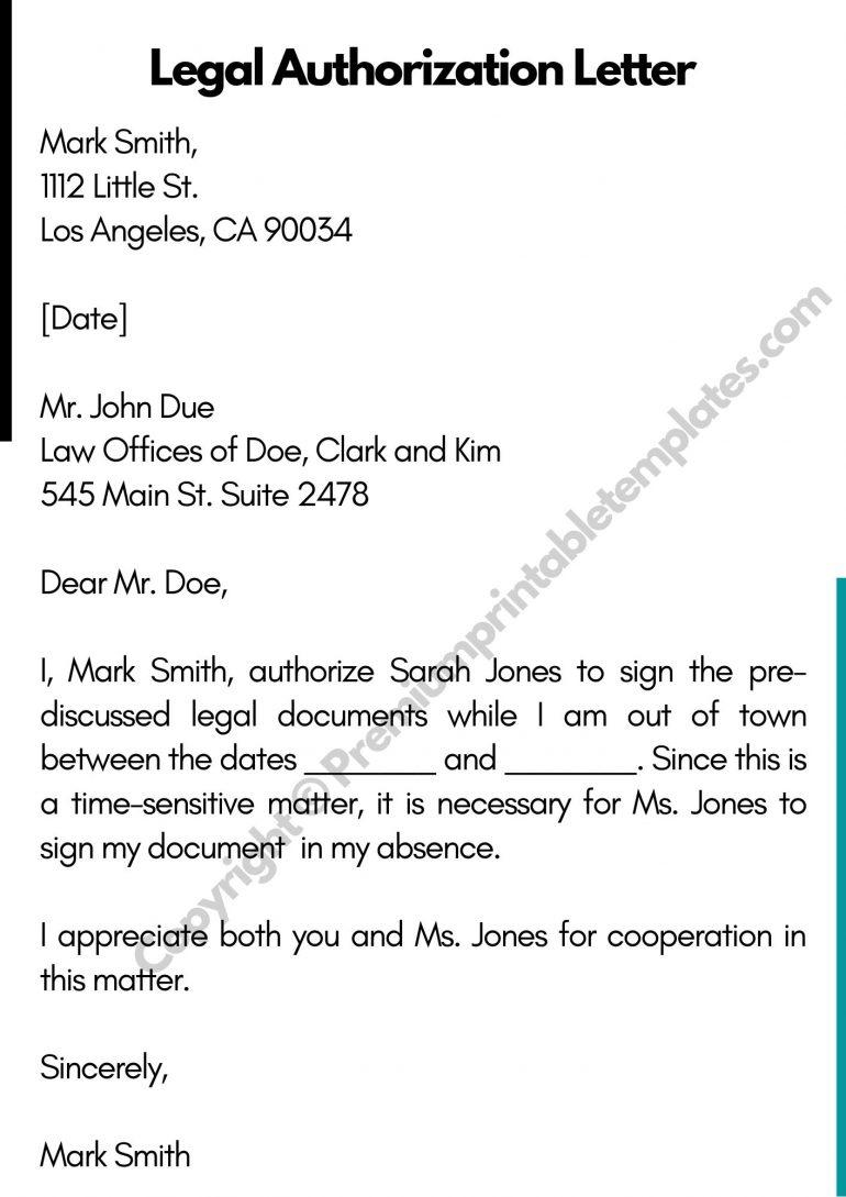 Legal Authorization Letter Template