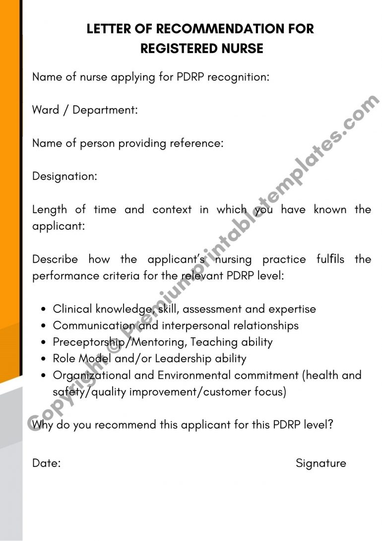 Letter Of Recommendation For Registered Nurse