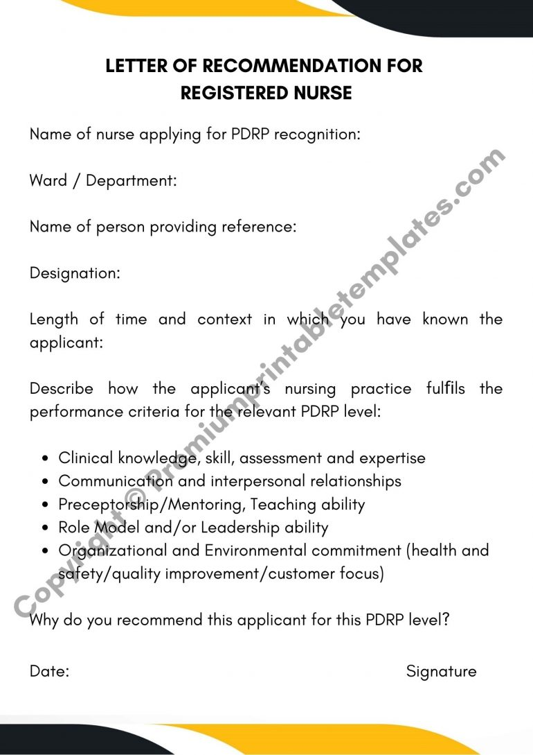 Letter Of Recommendation For Registered Nurse PDF