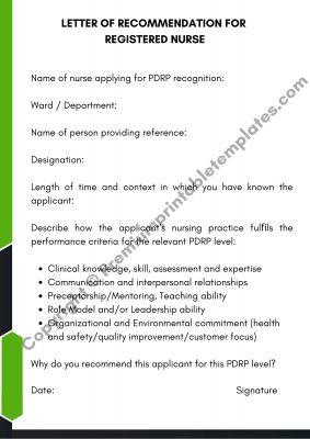 Letter Of Recommendation For Registered Nurse Template