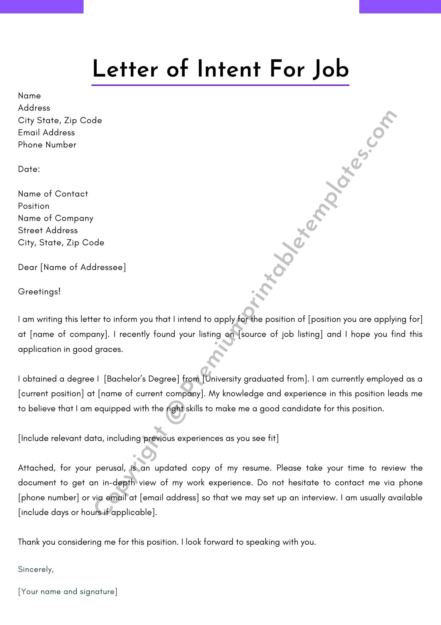 Intent Letter For Job from premiumprintabletemplates.com