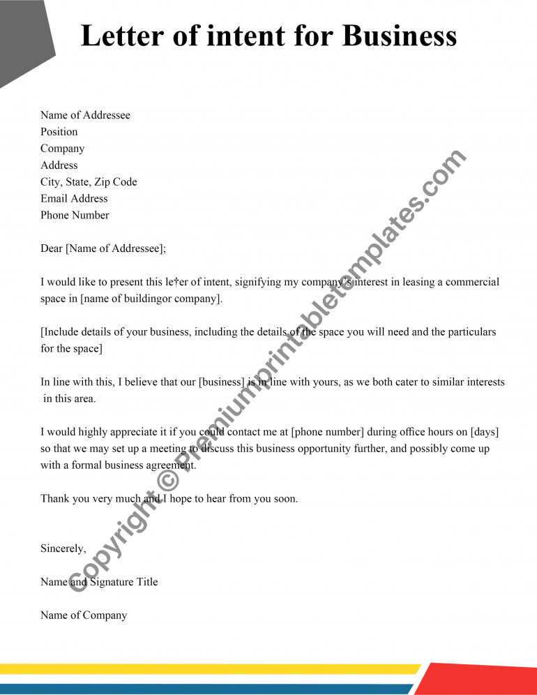 Letter of intent for business template