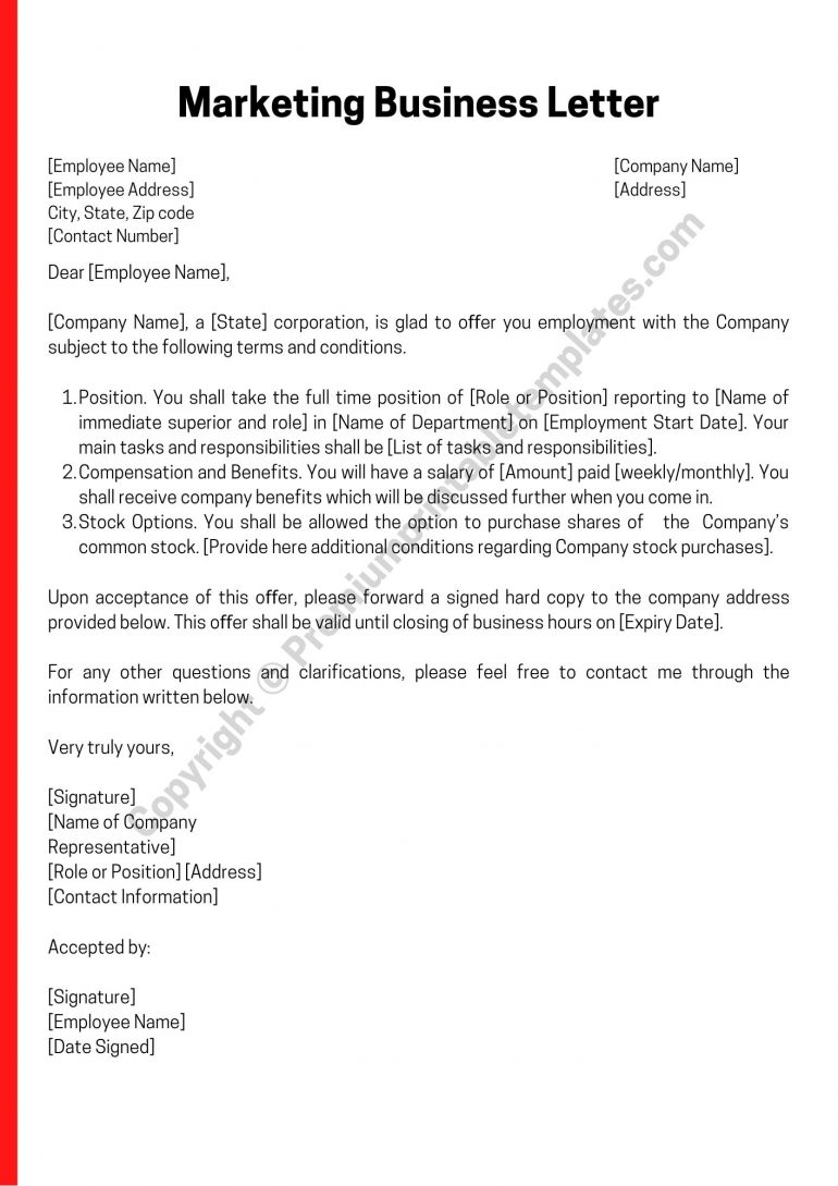 Marketing Business Letter PDF