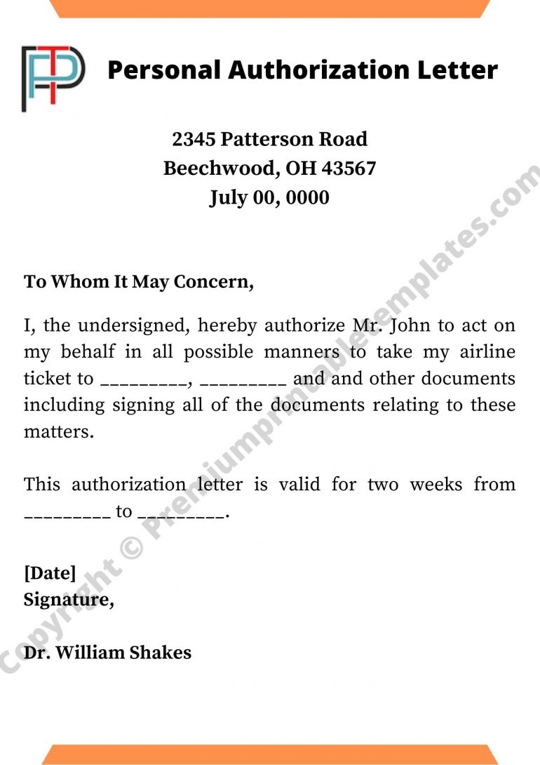 Personal Authorization Letter Template