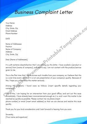 Printable Business Complaint Letter