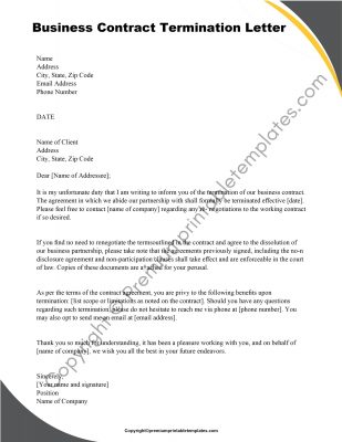 Printable Business Contract Termination Letter